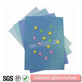 Iridescent glitter eva foam sheet with or without sticker