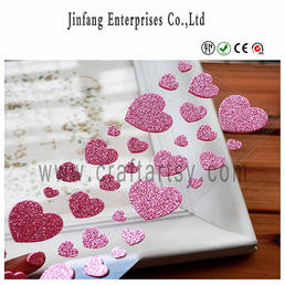 Heart shape Glitter EVA foam Sticker