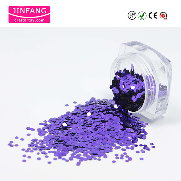 Forma hexagon Violet Metallice Glitter Powder