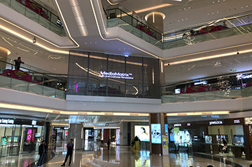 Transparent led glass window in Dongguan Minying Int. Trade Center