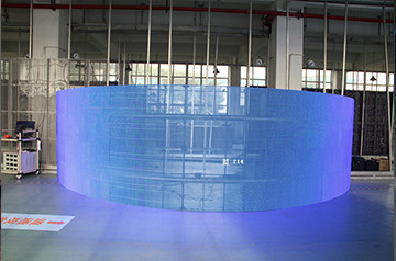 Transparent led  glass window in Spain Curved