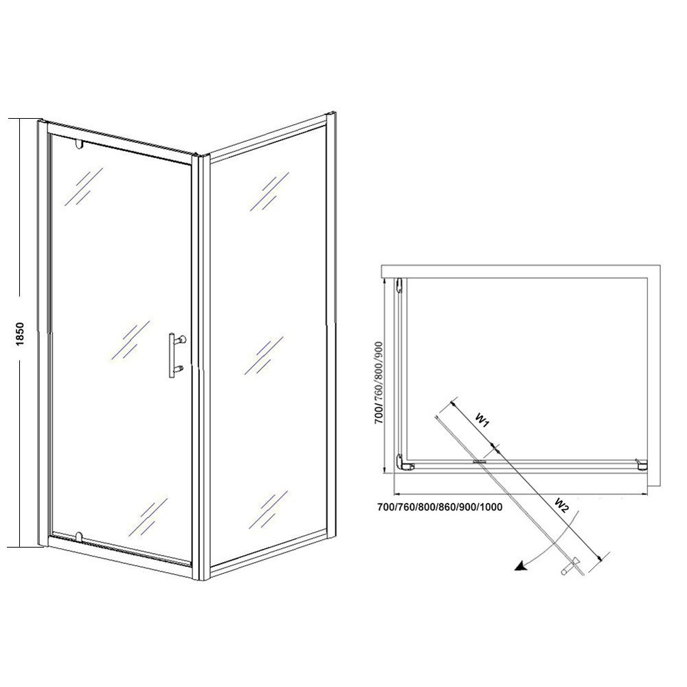 JT523 Semi-frameless Pivot Corner Entry