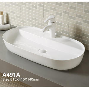 Large Lavatory White Vessel Bathroom Sink With Faucet Hole