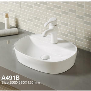 Lavatory White Bathroom Sink Bowl With Faucet Hole