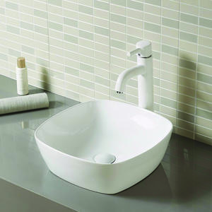 Square Ceramic Bathroom Sink On Worktop