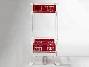 classical acrylic chinese side table  lucite chinese side table, classical lucite end table