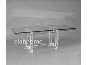 crystal lucite coffee table, clear acrylic coffee table, coffee table --acrylic legs