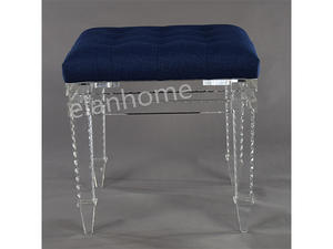 clear acrylic vanity stool crystal acrylic stool with blue cushion-C102