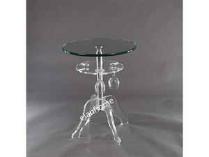 Modern Double Round Side Table Acrylic Legs With Glass Top