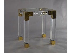 modern acrylic square coffee table with metal decoration  parts manufacture