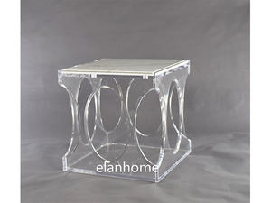 crystal modern acrylic table with marble top supplier in china