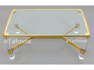 lucite  long acrylic table with metal decoration parts supplier in china
