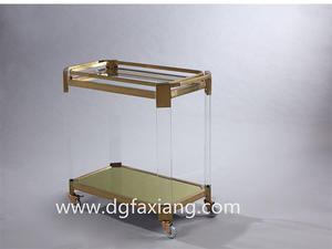 Fashion Acrylic Trolley With Metal Stand