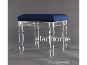 wholesale acrylic stool with blue cushion  supplier  from china factory
