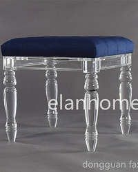 acrylic stool with blue cushion