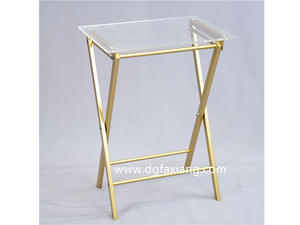 acrylic clear side table with metal