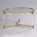 modern fancy acrylic coffee table with stainless steel