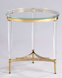wholesale xustom clear acrylic round lamp table with gold stainless steel