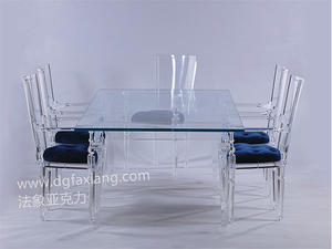 new crystal acrylic KD long dining table china acrylic furnitures supplier OEM/ODM