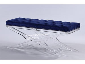 custom fashion clear acrylic long bench with bule cushion
