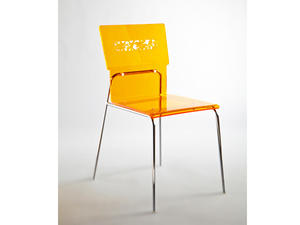 acrylic dining chair with back laser-carved