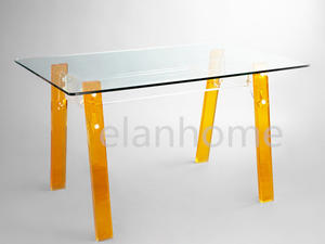 Acrylic Dinning Table With Tempered Glass Top