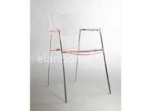 acrylic armchair with plated metal legs