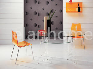 Popular Clear Acrylic Table And Orange Dining Chair