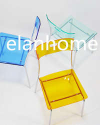 colorful  acrylic chair with metal
