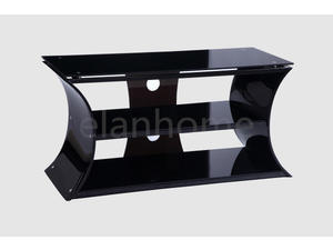 TV stand with black tea acrylic leg and galss top from china factory