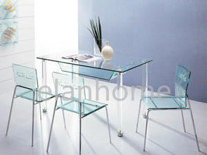 fashion dinning table with acrylic legs -round bars legs