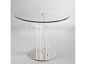Coffee Table With Plated Metal Foot And Acrylic Legs