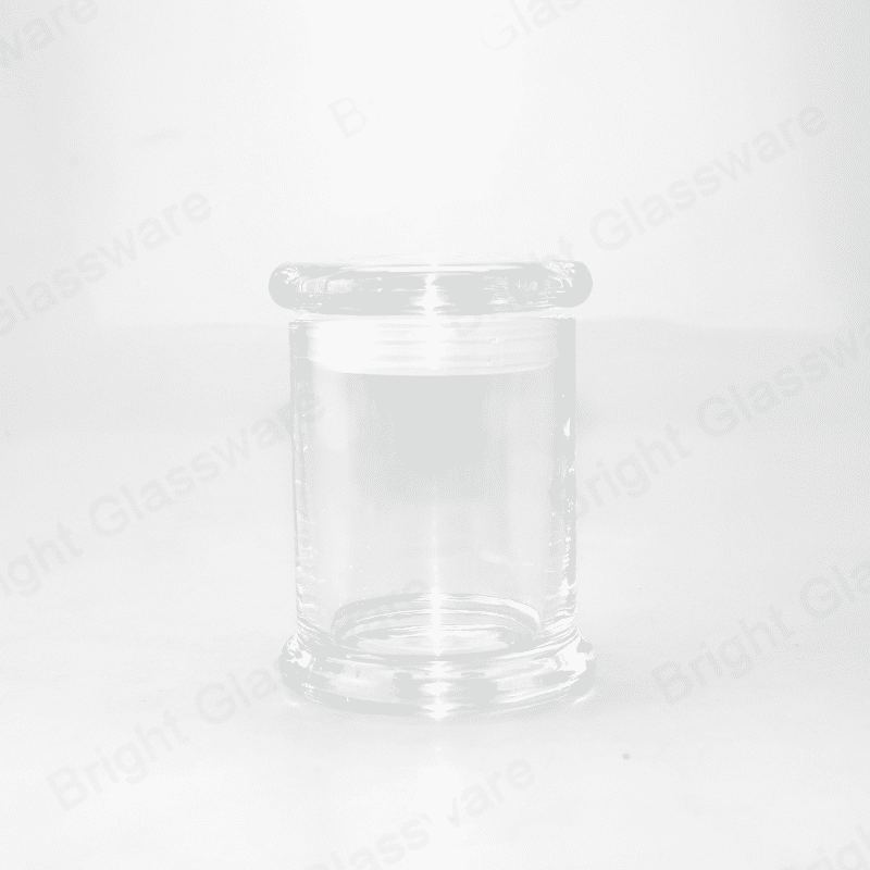Top sale 2oz Clear Cylinder Small Base Danube Candle Jar con tapa plana