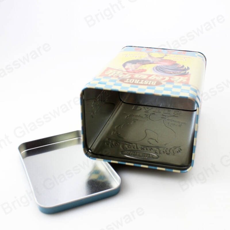 Empty tea biscuit tin box rectangular tin containers with embossed logo design
