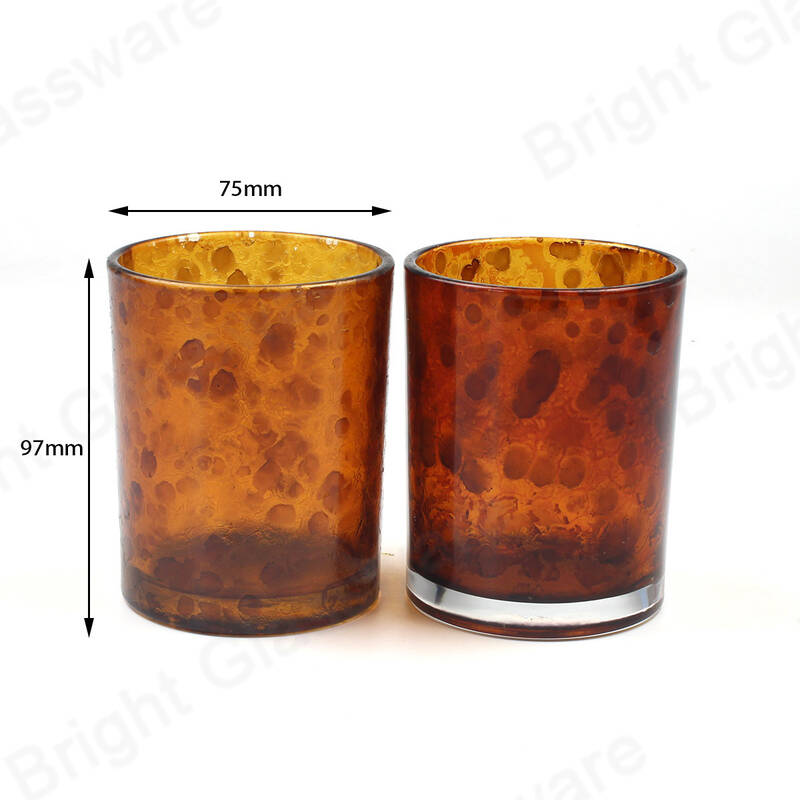 Hot Sale Amber Glass Jar Printing Pattern Leopard Candle Holder with Metal Lid and Box for Wedding Decoration