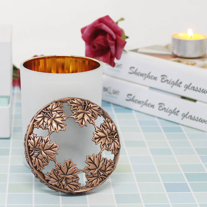 Antique Rose gold color hollow engraving metal zinc alloy candle lids caps for candle cup