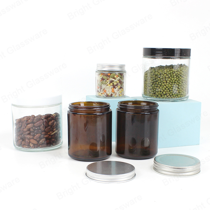 wide mouth clear amber color glass storage jar with aluminum lid