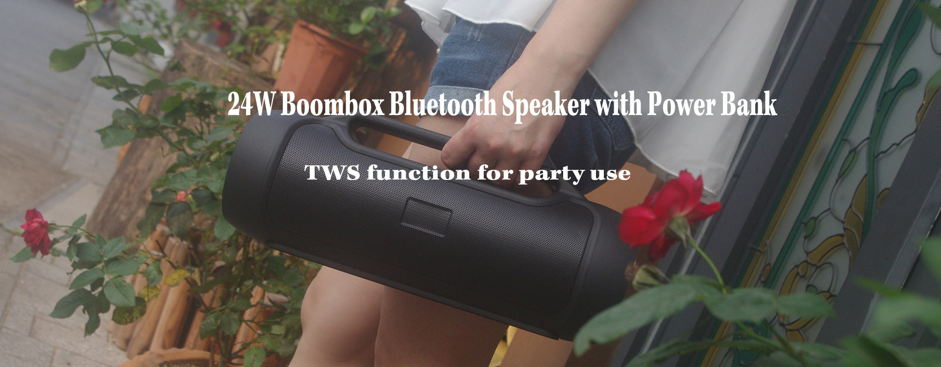 portable stereo wireless speaker banner