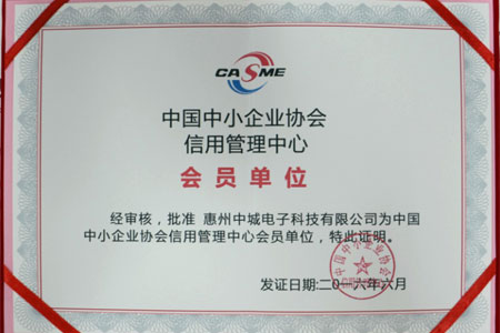 "Member of ""China Association of Small and Medium Enterprises"""