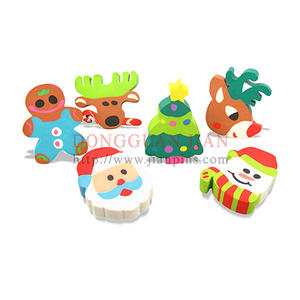 Hot Sale Custom Christmas Erasers with cute cartoon design fit for kids