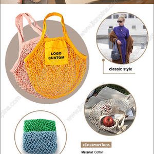 wholesale reusable cotton net bag with printing net bag designs