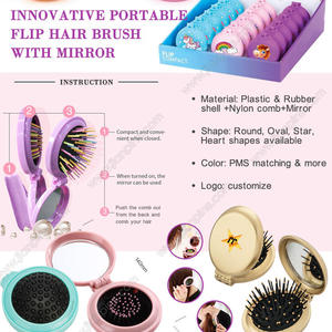Innovative Compact Mirror with Portable Hair Brush & Cosmetic Mirror 2 In 1