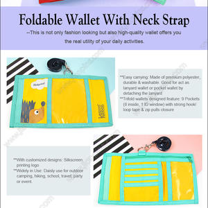 Foldable Wallet With Neck Strap trifold wallet with 9 pockets