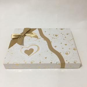 foldable rigid chocolate gift box with grace surface treatment and ribbon