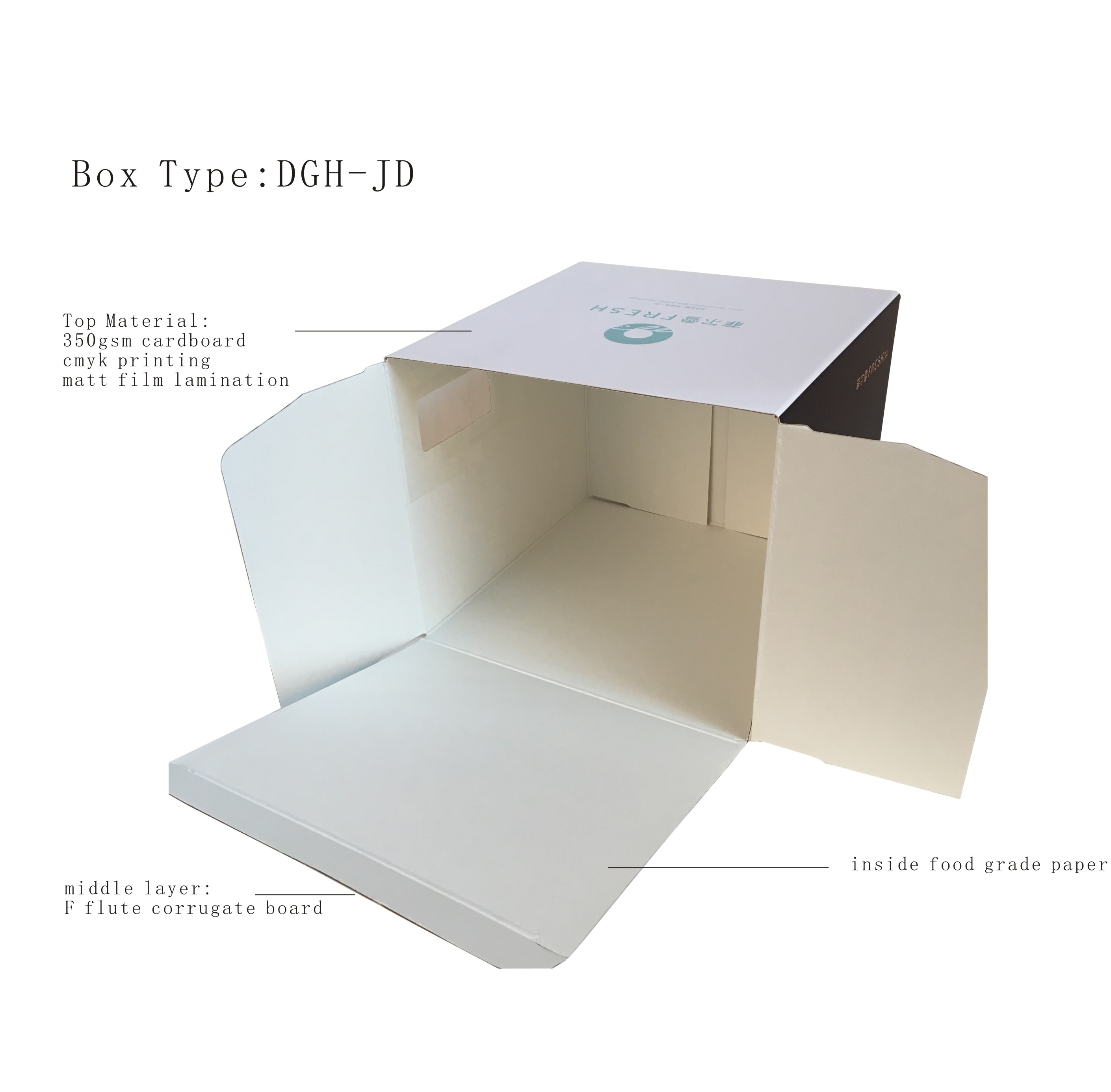 customized size corrugated safe food grade cake box