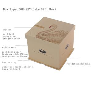 Gift Gold Cake Box With Lid,milldle Paper Wrap,bottom And Cake Tray