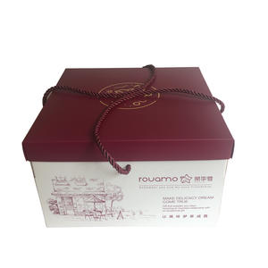 printing food grade paper material rope handle cake box in foldable structure