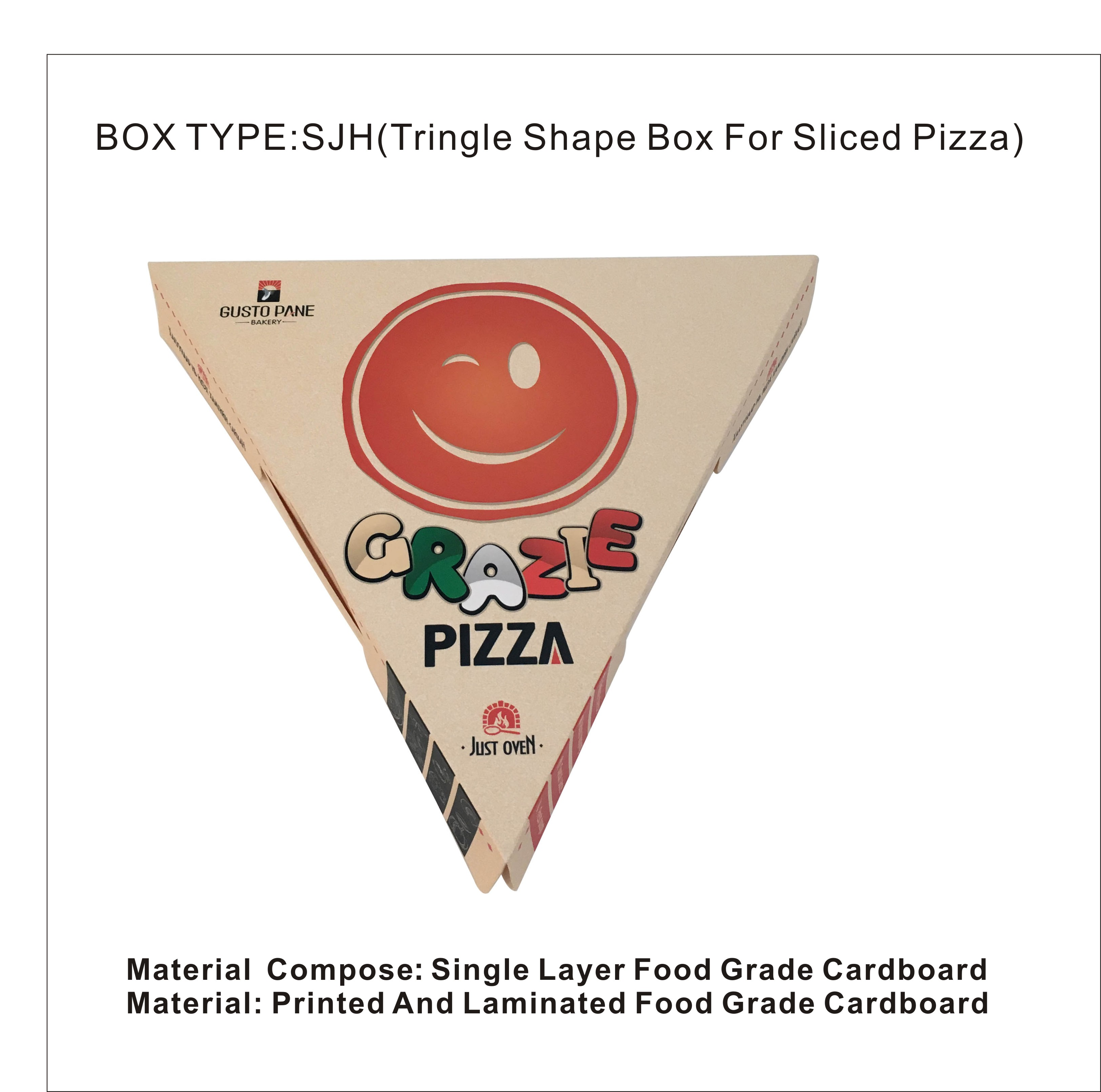 logo printing customize single layer food grade cardboard triangle shape pizza box for sliced pizza