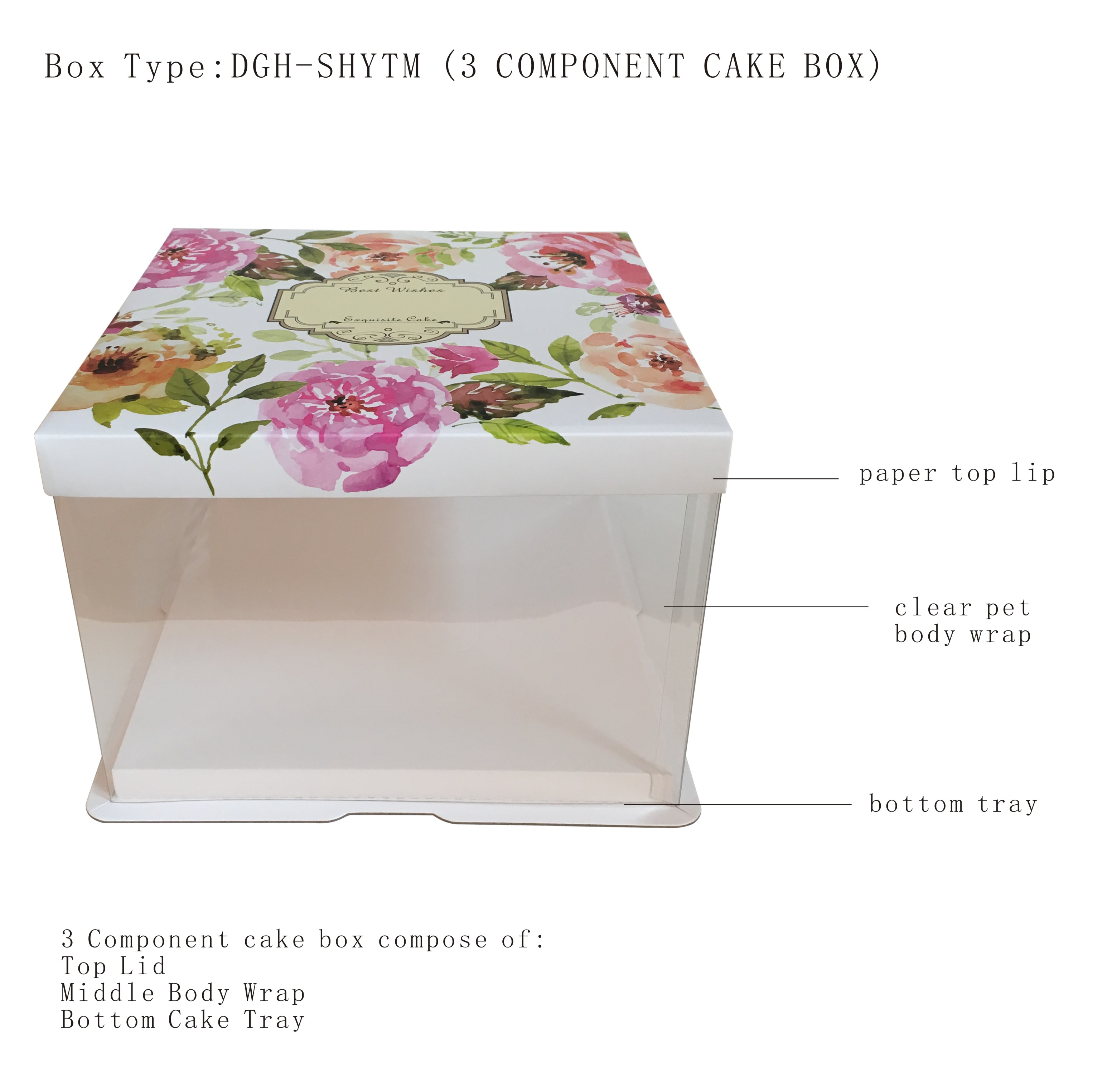 three component transparent cake box with three part component