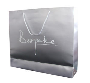 silver paper bag with hot stamped white logo
